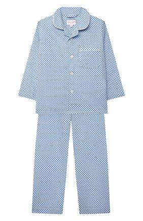 Детская хлопковая пижама DEREK ROSE голубого цвета, арт. 7025-LEDB040/3-12 | Фото 1