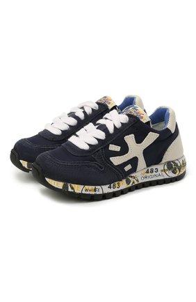 Детские кроссовки PREMIATA WILL BE темно-синего цвета, арт. MICK/12-40784/T0D | Фото 1 (Материал внешний: Текстиль; Материал внутренний: Натуральная кожа; Стили: Гранж)