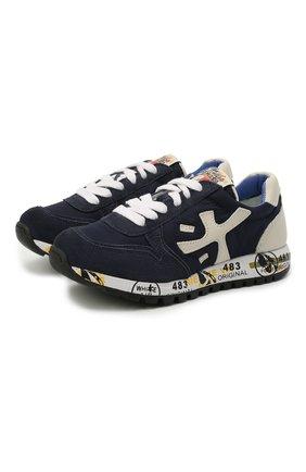 Детские кроссовки PREMIATA WILL BE темно-синего цвета, арт. MICK/12-40784/CHILD | Фото 1 (Материал внешний: Текстиль; Материал внутренний: Натуральная кожа; Стили: Гранж)
