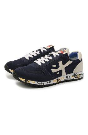 Детские кроссовки PREMIATA WILL BE темно-синего цвета, арт. MICK/12-40784/JUN | Фото 1 (Материал внешний: Текстиль; Материал внутренний: Натуральная кожа; Стили: Гранж)