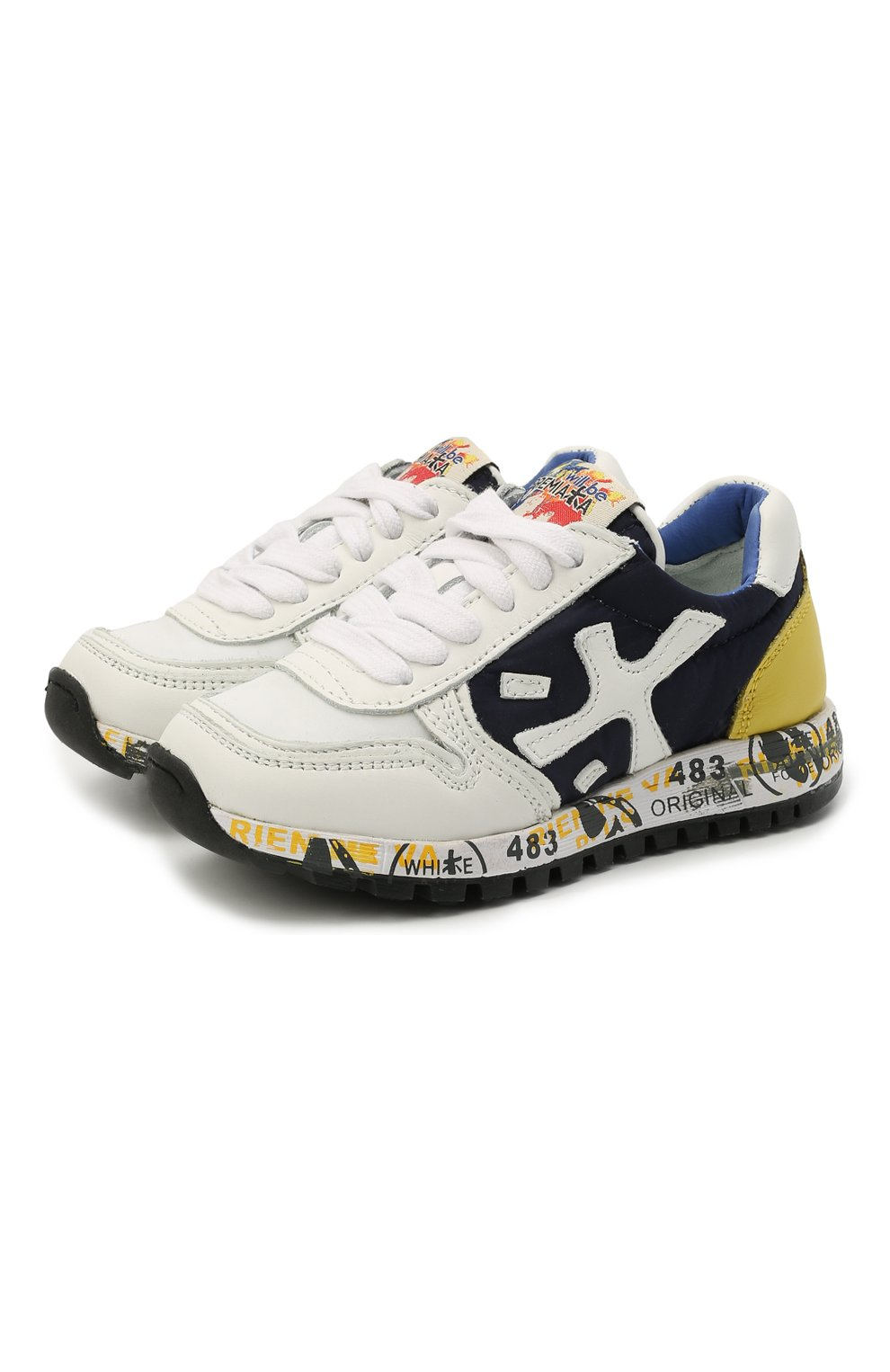 Детские кроссовки PREMIATA WILL BE разноцветного цвета, арт. MICK/12-41538/T0D | Фото 1 (Материал внешний: Текстиль; Материал внутренний: Натуральная кожа; Стили: Гранж)