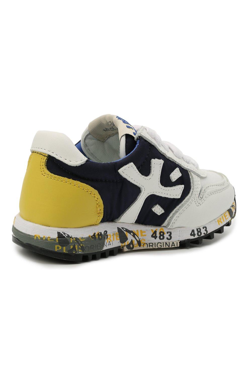 Детские кроссовки PREMIATA WILL BE разноцветного цвета, арт. MICK/12-41538/T0D | Фото 3 (Материал внешний: Текстиль; Материал внутренний: Натуральная кожа; Стили: Гранж)