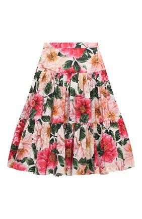 Детская хлопковая юбка DOLCE & GABBANA разноцветного цвета, арт. L53I47/HS5H5/8-14 | Фото 1