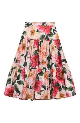 Детская хлопковая юбка DOLCE & GABBANA разноцветного цвета, арт. L53I47/HS5H5/2-6 | Фото 2