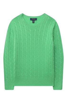 Детский кашемировый пуловер POLO RALPH LAUREN зеленого цвета, арт. 323560706 | Фото 1
