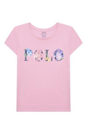 Детская хлопковая футболка POLO RALPH LAUREN розового цвета, арт. 313837218 | Фото 1