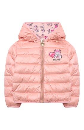 Детского пуховая куртка MOSCHINO розового цвета, арт. MUS01V/L3A32 | Фото 1