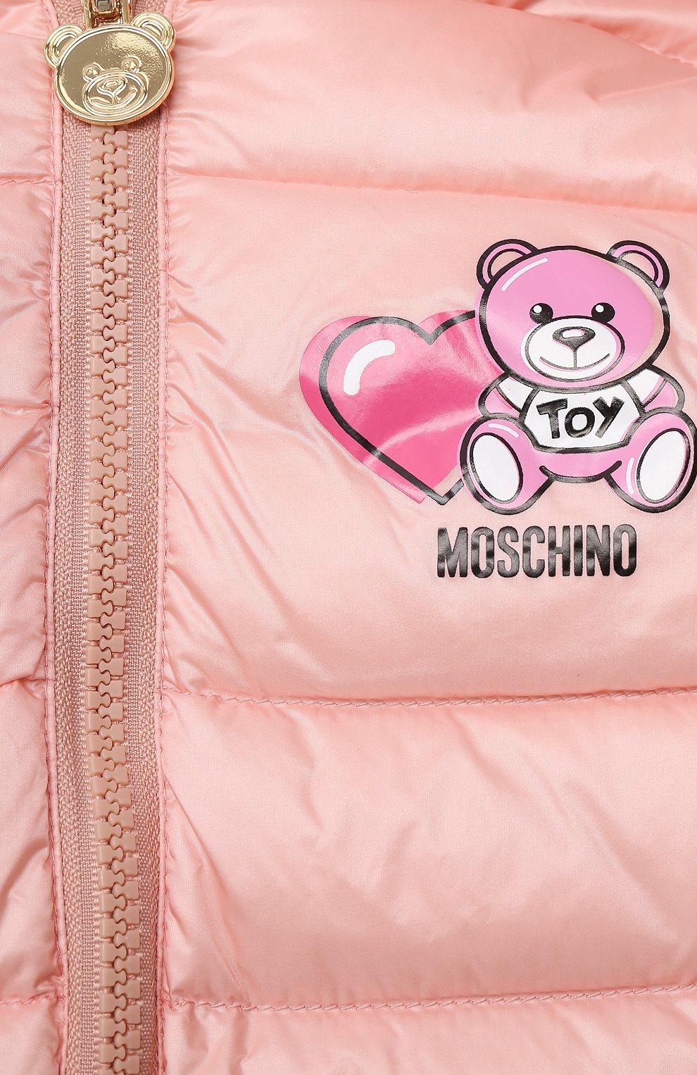 Детского пуховая куртка MOSCHINO розового цвета, арт. MUS01V/L3A32 | Фото 3