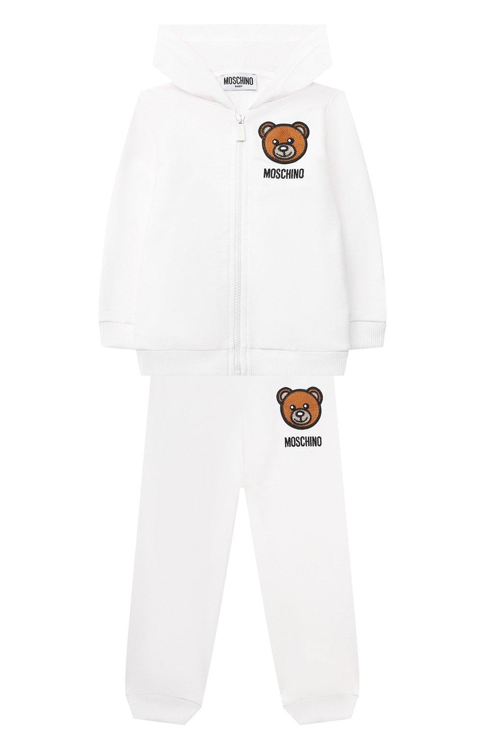 Детский комплект из толстовки и брюк MOSCHINO белого цвета, арт. MTK00G/LDA00 | Фото 1