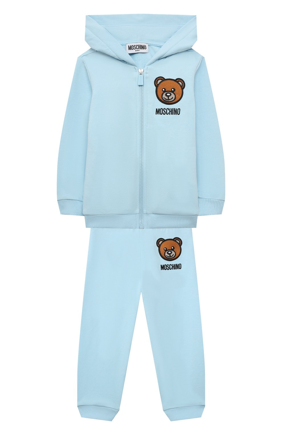 Детский комплект из толстовки и брюк MOSCHINO голубого цвета, арт. MTK00G/LDA00 | Фото 1