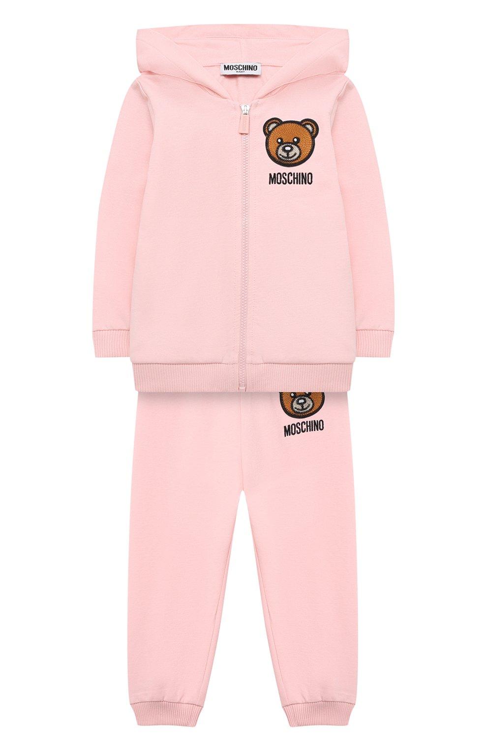 Детский комплект из толстовки и брюк MOSCHINO розового цвета, арт. MTK00G/LDA00 | Фото 1