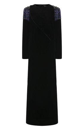 Женское бархатное платье GIORGIO ARMANI черного цвета, арт. 0WHVR036/T028S | Фото 1
