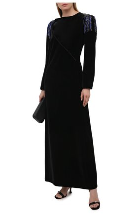 Женское бархатное платье GIORGIO ARMANI черного цвета, арт. 0WHVR036/T028S | Фото 2