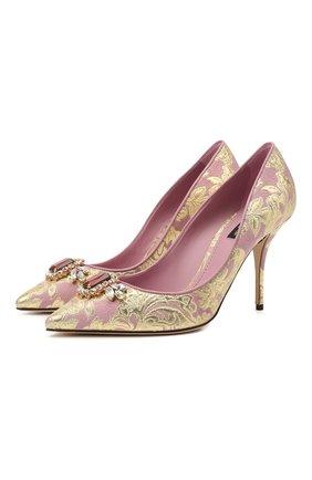 Женские текстильные туфли cardinale 90 DOLCE & GABBANA светло-розового цвета, арт. CD1590/AW703   Фото 1