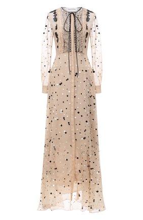 Женское шелковое платье VALENTINO кремвого цвета, арт. VB3VDB715WC   Фото 1 (Рукава: Длинные; Случай: Вечерний; Длина Ж (юбки, платья, шорты): Макси; Стили: Романтичный; Материал подклада: Шелк; Женское Кросс-КТ: Платье-одежда; Материал внешний: Шелк)
