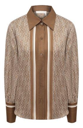 Женская шелковая рубашка CHLOÉ коричневого цвета, арт. CHC21SHT83354 | Фото 1