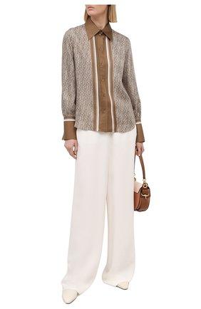 Женская шелковая рубашка CHLOÉ коричневого цвета, арт. CHC21SHT83354 | Фото 2