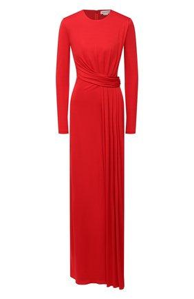 Женское платье из вискозы ALEXANDER MCQUEEN красного цвета, арт. 645893/QLAA0   Фото 1 (Женское Кросс-КТ: Платье-одежда; Стили: Романтичный; Случай: Вечерний; Рукава: Длинные; Длина Ж (юбки, платья, шорты): Миди; Материал внешний: Вискоза; Материал подклада: Синтетический материал)