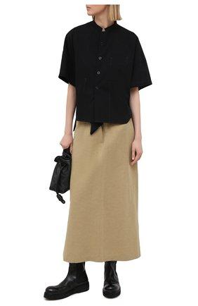 Женская хлопковая рубашка Y`S черного цвета, арт. YT-B03-030   Фото 2