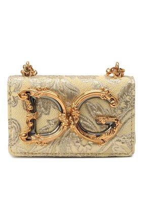 Женская сумка dg girls mini DOLCE & GABBANA золотого цвета, арт. BI1398/AW168   Фото 1 (Сумки-технические: Сумки через плечо; Ремень/цепочка: С цепочкой, На ремешке; Материал: Текстиль; Размер: mini; Женское Кросс-КТ: Вечерняя сумка)