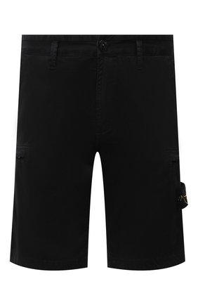 Мужские хлопковые шорты STONE ISLAND черного цвета, арт. 7415L0504 | Фото 1