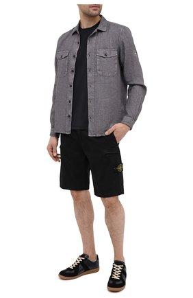 Мужские хлопковые шорты STONE ISLAND черного цвета, арт. 7415L0504 | Фото 2