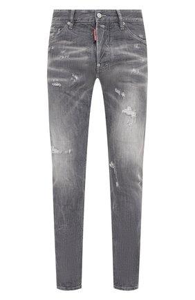 Мужские джинсы DSQUARED2 серого цвета, арт. S74LB0867/S30260 | Фото 1 (Кросс-КТ: Деним; Стили: Гранж; Длина (брюки, джинсы): Стандартные; Детали: Потертости; Силуэт М (брюки): Прямые; Материал внешний: Хлопок)