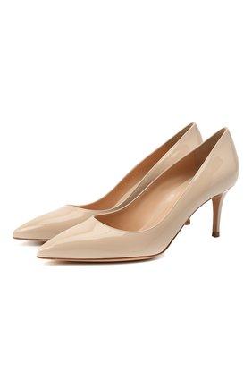 Женские кожаные туфли gianvito 70 GIANVITO ROSSI светло-бежевого цвета, арт. G26770.70RIC.VERM0US | Фото 1 (Каблук высота: Средний; Подошва: Плоская; Материал внутренний: Натуральная кожа; Каблук тип: Шпилька)