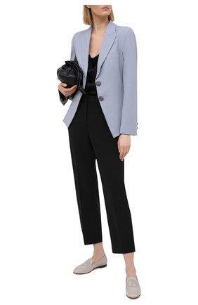 Женские кожаные лоферы GIORGIO ARMANI серого цвета, арт. X1A079/XF417 | Фото 2