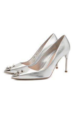 Женские кожаные туфли ALEXANDER MCQUEEN серебряного цвета, арт. 633504/WHTM1 | Фото 1 (Каблук тип: Шпилька; Материал внутренний: Натуральная кожа; Каблук высота: Высокий; Подошва: Плоская)