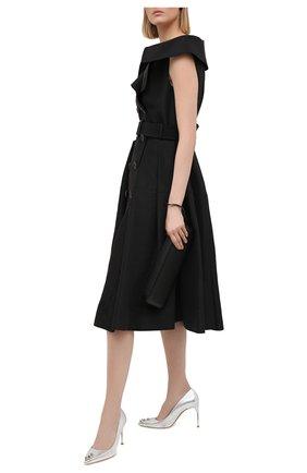 Женские кожаные туфли ALEXANDER MCQUEEN серебряного цвета, арт. 633504/WHTM1 | Фото 2 (Каблук тип: Шпилька; Материал внутренний: Натуральная кожа; Каблук высота: Высокий; Подошва: Плоская)