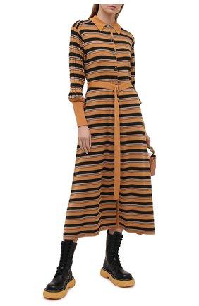 Женское платье из шерсти и вискозы CHLOÉ разноцветного цвета, арт. CHC21SMR04670 | Фото 2 (Женское Кросс-КТ: Платье-одежда; Длина Ж (юбки, платья, шорты): Миди; Кросс-КТ: Трикотаж; Материал внешний: Шерсть; Случай: Повседневный; Рукава: Длинные; Стили: Кэжуэл)