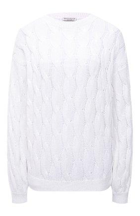 Женский свитер из хлопка и льна BRUNELLO CUCINELLI белого цвета, арт. M70573220   Фото 1
