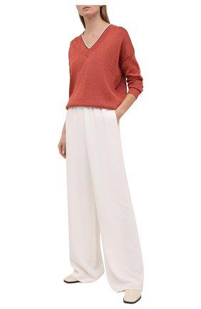 Женский пуловер из хлопка и вискозы BRUNELLO CUCINELLI оранжевого цвета, арт. M74767422 | Фото 2