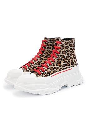 Женские кожаные ботинки ALEXANDER MCQUEEN леопардового цвета, арт. 650778/WHZW1 | Фото 1 (Женское Кросс-КТ: Хайкеры-ботинки; Материал внутренний: Натуральная кожа; Подошва: Платформа; Каблук высота: Низкий)
