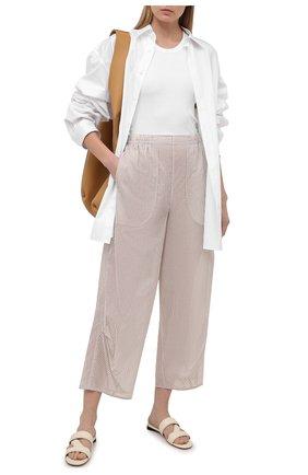 Женские хлопковые брюки GIORGIO ARMANI бежевого цвета, арт. 1SHPP0HA/T02FM | Фото 2