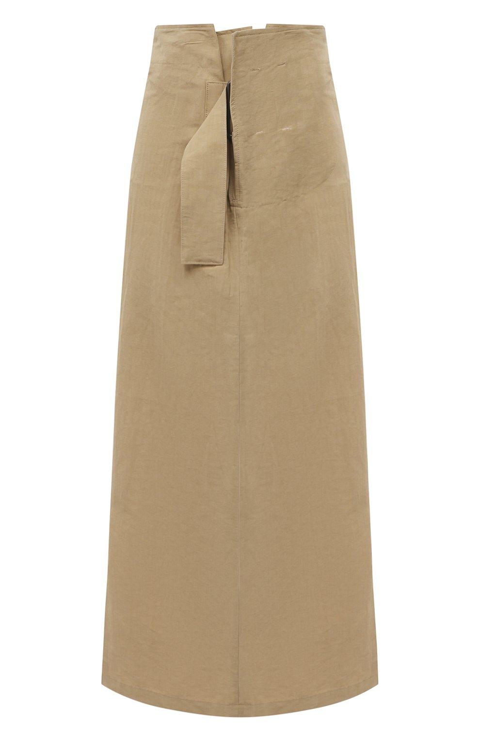 Женская юбка из льна и хлопка Y`S бежевого цвета, арт. YT-S40-330 | Фото 1 (Женское Кросс-КТ: Юбка-одежда; Материал внешний: Хлопок, Лен; Длина Ж (юбки, платья, шорты): Макси; Стили: Кэжуэл)