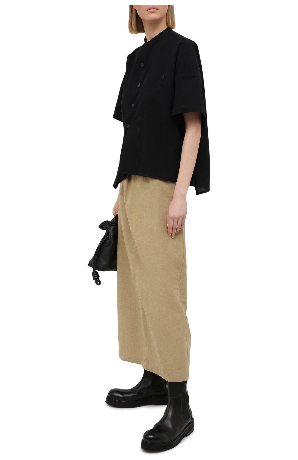 Женская юбка из льна и хлопка Y`S бежевого цвета, арт. YT-S40-330 | Фото 2 (Женское Кросс-КТ: Юбка-одежда; Материал внешний: Хлопок, Лен; Длина Ж (юбки, платья, шорты): Макси; Стили: Кэжуэл)