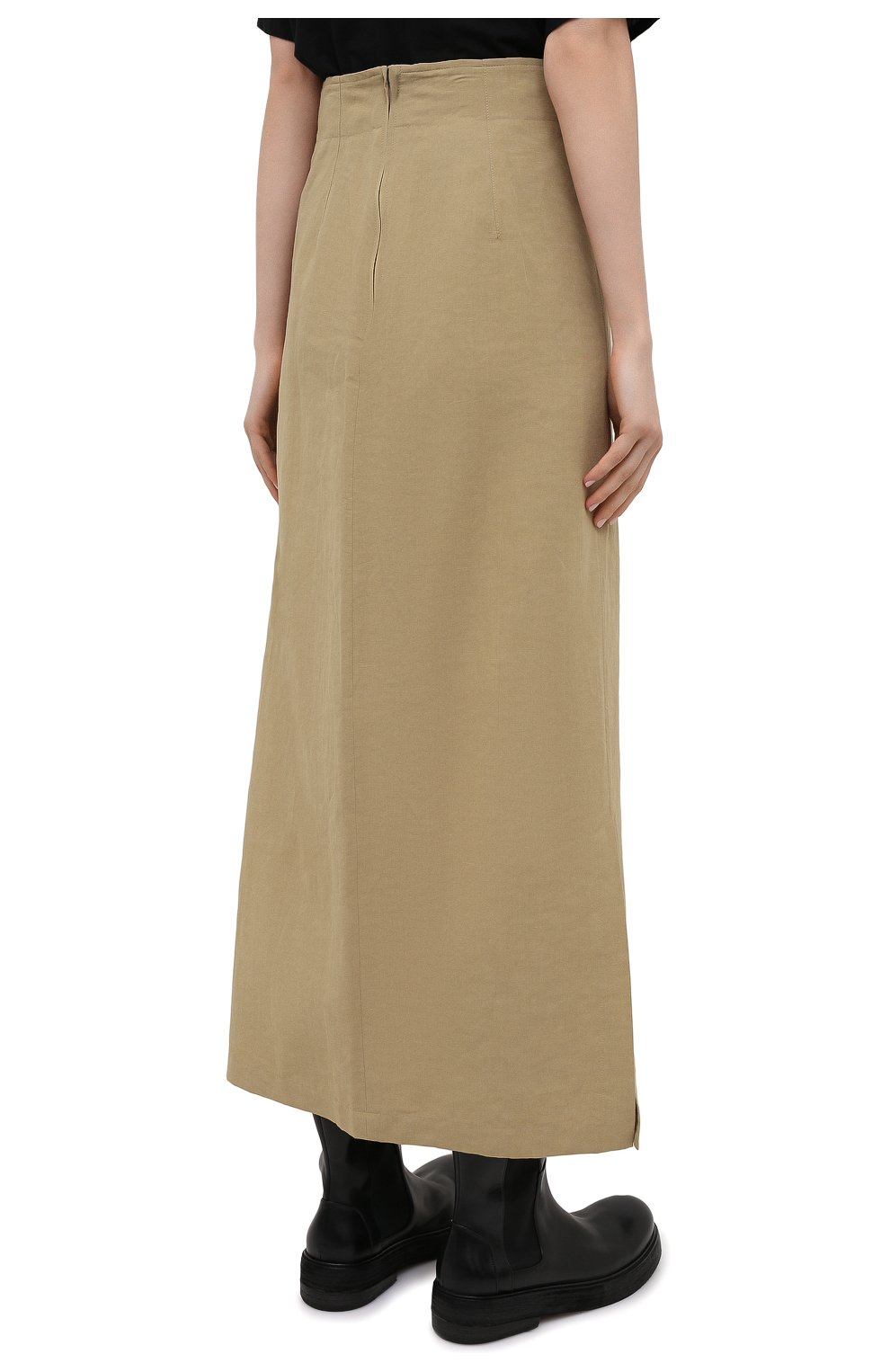 Женская юбка из льна и хлопка Y`S бежевого цвета, арт. YT-S40-330 | Фото 4 (Женское Кросс-КТ: Юбка-одежда; Материал внешний: Хлопок, Лен; Длина Ж (юбки, платья, шорты): Макси; Стили: Кэжуэл)