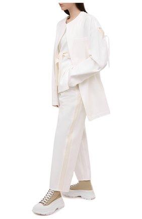 Женские хлопковые брюки Y`S белого цвета, арт. YT-P04-829   Фото 2