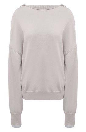 Женский пуловер из хлопка и вискозы Y`S серого цвета, арт. YT-K72-049   Фото 1