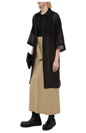 Женская хлопковая рубашка Y`S черного цвета, арт. YT-B40-032   Фото 2