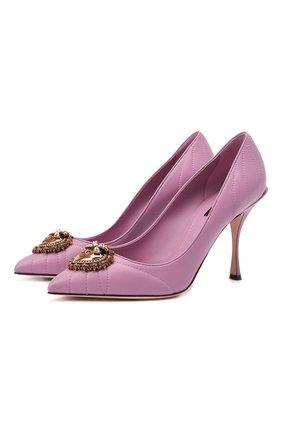 Женские кожаные туфли devotion DOLCE & GABBANA светло-розового цвета, арт. CD1471/AV967 | Фото 1 (Подошва: Плоская; Каблук высота: Высокий; Материал внутренний: Натуральная кожа; Каблук тип: Шпилька)