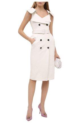 Женские кожаные туфли devotion DOLCE & GABBANA светло-розового цвета, арт. CD1471/AV967 | Фото 2 (Подошва: Плоская; Каблук высота: Высокий; Материал внутренний: Натуральная кожа; Каблук тип: Шпилька)