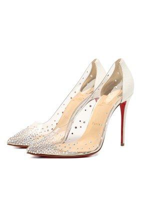 Женские комбинированные туфли degrastrass 100 CHRISTIAN LOUBOUTIN прозрачного цвета, арт. 3190804/DEGRASTRASS PVC 100 | Фото 1