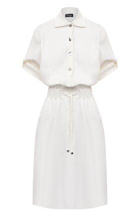 Женское льняное платье KITON белого цвета, арт. D49305K09T41 | Фото 1