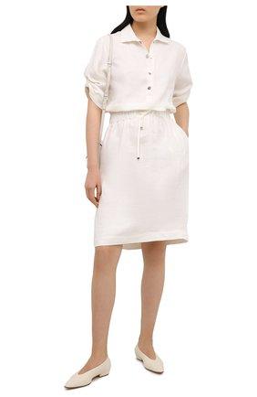 Женское льняное платье KITON белого цвета, арт. D49305K09T41 | Фото 2