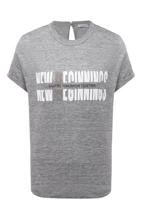 Женская футболка из льна и шелка BRUNELLO CUCINELLI серого цвета, арт. MH985BS220 | Фото 1