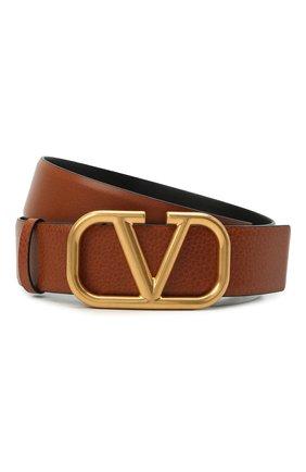 Женский кожаный ремень VALENTINO коричневого цвета, арт. VW2T0S11/ZHY | Фото 1 (Материал: Кожа)