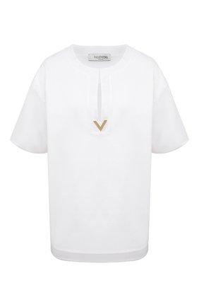 Женская хлопковая футболка VALENTINO белого цвета, арт. VB3MG11T69W | Фото 1